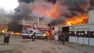 حريق هائل يدمر منزلين بدمياط