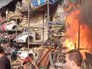حريق بمخزن خردة في صفط اللبن.. والحماية المدنية تحاول السيطرة عليه
