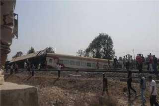 حادث قطار طوخ.. السكة الحديد: خروج 4 عربات عن القضبان